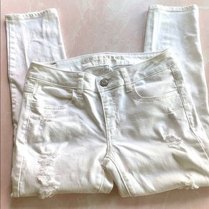American Eagle White Distressed Denim Jegging Sz 6
